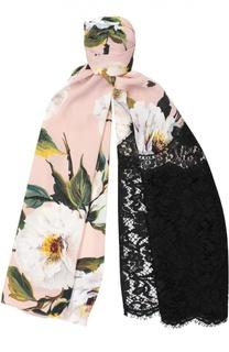 Шарф с принтом и кружевом Dolce & Gabbana