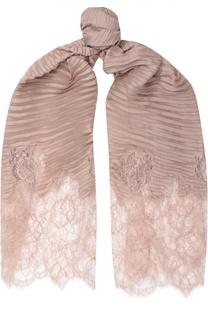 Шелковый шарф с кружевом Valentino