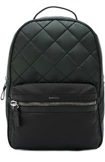 Текстильный стеганый рюкзак с отделкой из натуральной кожи Moncler