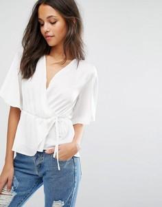 Атласная блузка с завязкой спереди Missguided - Белый