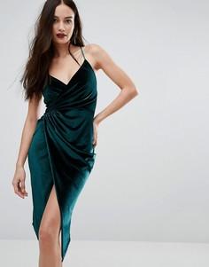 Бархатное платье миди с запахом Boohoo - Зеленый