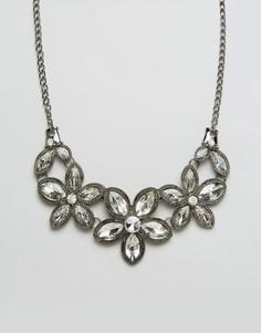 Ожерелье с камнями в виде цветов Ruby Rocks - Серебряный