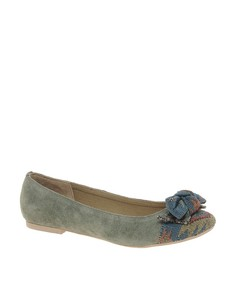 Park Lane Leather Ballet Pump With Print - Серый