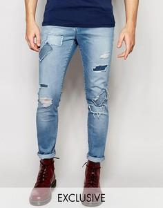Рваные светлые джинсы скинни с заплатками Brooklyn Supply Co - Синий