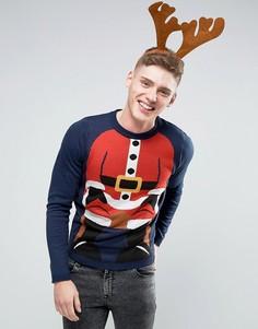 Новогодний джемпер с фигурой Санта-Клауса D-Struct - Темно-синий