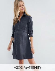 Джинсовое выбеленное платье-рубашка с поясом ASOS Maternity - Черный