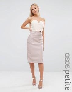 Полиуретановая юбка с карманами ASOS PETITE - Розовый
