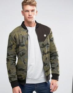 Камуфляжная трикотажная куртка-пилот Le Breve MA1 - Зеленый