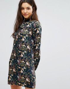 Платье с цветочным принтом и завязкой у горловины Greylin Breann - Мульти