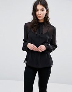 Прозрачная шелковая блузка с завязкой у горловины Greylin Anissa - Черный