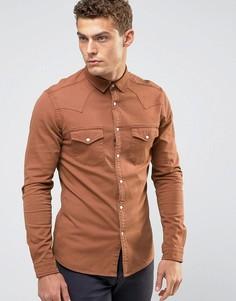 Оранжевая джинсовая рубашка скинни в стиле вестерн ASOS - Оранжевый