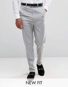 Светло-серые строгие брюки с завышенной талией ASOS - Серый