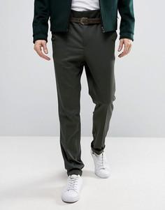 Брюки цвета хаки без пояса с заниженным шаговым швом и ремнем ASOS - Зеленый