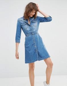Джинсовое платье-рубашка на пуговицах 7 For All Mankind - Синий