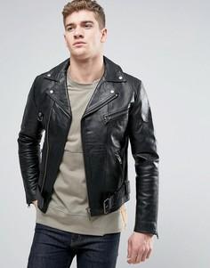 Кожаная байкерская куртка Nudie Ziggy - Черный