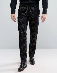 Фактурные брюки скинни с леопардовым принтом ASOS - Коричневый