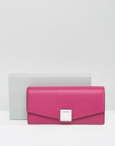 Большой кожаный кошелек Calvin Klein - Розовый