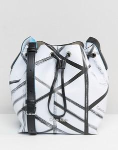 Маленькая сумка с принтом CK Jeans - Белый Calvin Klein