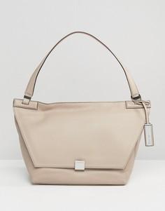 Кожаная сумка на плечо Calvin Klein - Бежевый