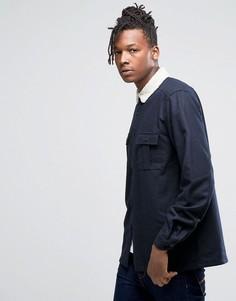 Темно-синяя полушерстяная рубашка навыпуск с меховым воротником ASOS - Темно-синий