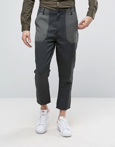 Суженые строгие брюки цвета хаки с контрастными карманами ASOS - Зеленый