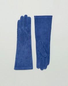 Длинные кожаные перчатки Lavand - Синий
