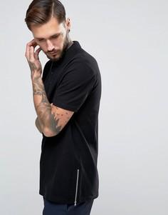 Черная длинная футболка-поло из пике с молниями ASOS - Черный