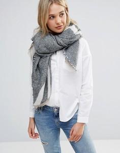 Широкий шарф в полоску Lavand - Серый