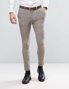 Трикотажные супероблегающие брюки в крапинку ASOS - Бежевый
