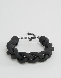 Черный резиновый браслет ASOS - Черный