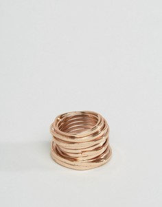 Кольцо матового медного цвета ASOS - Золотой