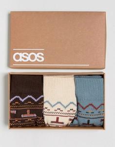 Подарочный набор с 3 парами толстых носков с ацтекским узором ASOS - Мульти