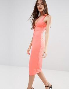 Платье-футляр миди с кружевом Hedonia - Оранжевый