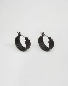 Черные прорезиненные серьги-кольца ASOS - Черный