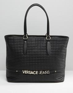 Стеганая сумка-тоут Versace Jeans - Черный