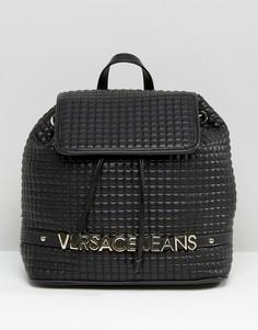 Рюкзак с золотистым логотипом Versace Jeans - Черный