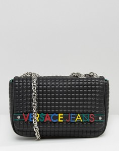 Сумка на плечо с разноцветной надписью Versace Jeans - Черный