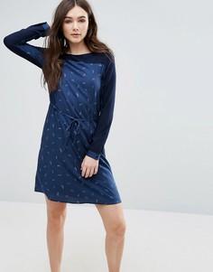 Цельнокройное платье с перьями Lavand - Темно-синий