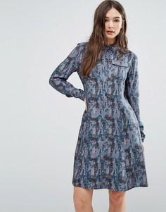 Платье-рубашка с принтом Lavand - Мульти