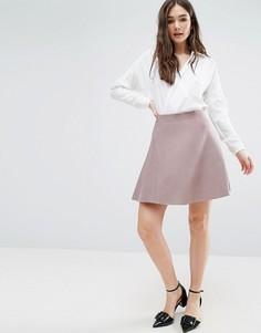 Короткая расклешенная юбка из трикотажа розового цвета Lavand - Розовый
