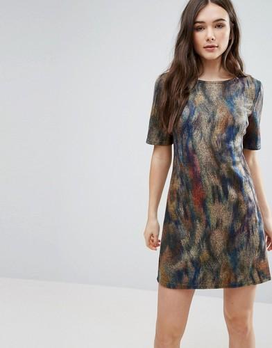 Короткое приталенное платье с принтом Lavand - Мульти