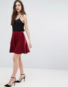 Короткая расклешенная юбка из трикотажа бордового цвета Lavand - Красный