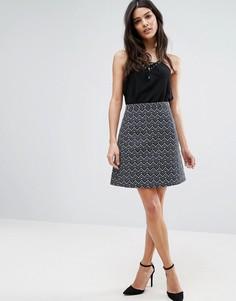 Фактурная мини-юбка с геометрическим узором Lavand - Темно-синий
