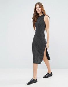 Длинное платье из люрекса Blend She Silli - Черный