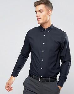 Темно-синяя рубашка классического кроя с воротником на пуговицах ASOS - Темно-синий