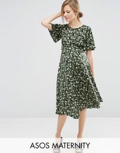 Чайное платье миди со звериным принтом ASOS Maternity - Мульти
