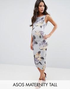 Платье миди для беременных с цветочным принтом ASOS Maternity TALL - Мульти