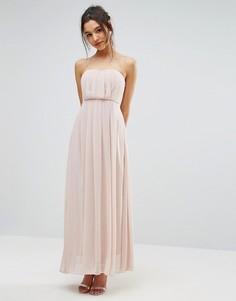 Шифоновое платье макси без бретелек AX Paris - Кремовый