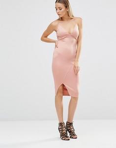 Облегающее платье миди с глубоким вырезом и разрезом AX Paris - Розовый