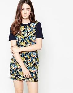 Платье с цветочным принтом и контрастными рукавами Madam Rage - Мульти